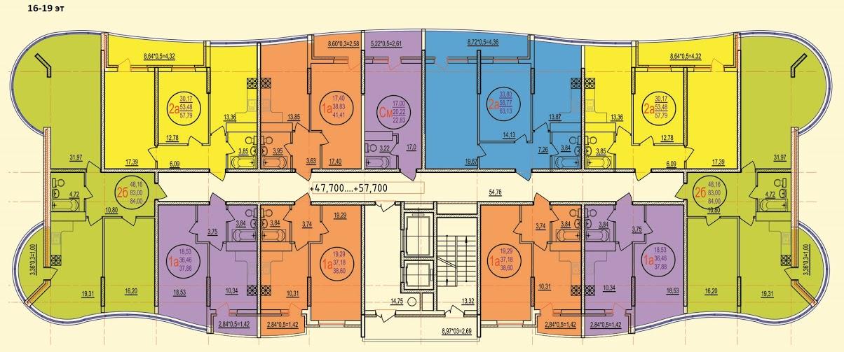 16-19 этажи